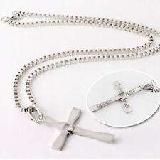 Mens Unisex Silver Stainless Steel Necklace Cross Pendant Chain Xmas Gifts New