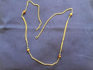 """Pre owned longline station necklace(30"""") gold coloured chain"""