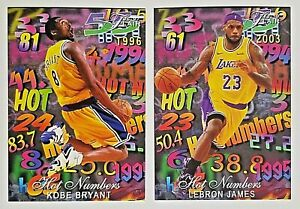Flair Kobe Bryant Rookie & Lebron James Hot Numbers Novelty Card 2 Card Lot