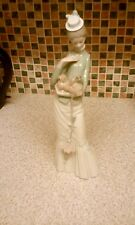 "GENUINE LLADRO ""MY DOG"" LADY WITH PARASOL HOLDING PEKINESE DOG 14 INCHES TALL"