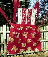 VTG 50's Red Floral Bib Full Apron,Tapestry & Embroidery Accents Front Pockets