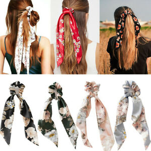 Floral Triangle Streamers Hair Ties Rope Hair Scrunchies Bow Satin Long Ponytail