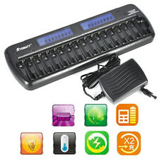 16 slots LCD Smart Battery Charger for Rechargeable Ni-MH Ni-Cd AA AAA bay Bank