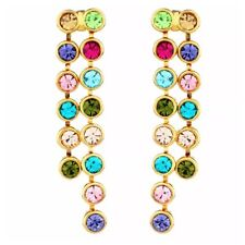 S7 Made Using Swarovski Crystals Multi Color Waterfall Dangle Earrings
