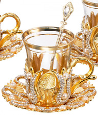 (SET of 6) Turkish Tea Glasses Set with Saucers Holders Spoons, Decorated with S