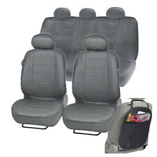PU Leather Car Seat Covers for Auto Gray Premium Fabric w/ Organizer Kick Mat
