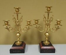 Antique aesthetic movement gilt metal and marble candelabras 1875