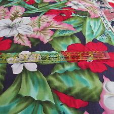 Alexander Henry cotton fabric tropical hibiscus flower half yard cut NAVY floral