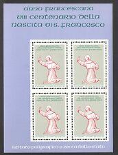 FOGLIETTO IPZS 1982 ITALIA  800 ANNI NASCITA SAN FRANCESCO ANNO FRANCESCANO