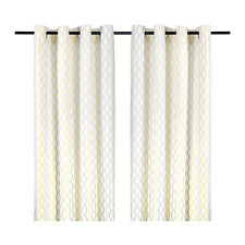"Ikea Henny Rand Curtains White Gray Yellow 2 Panels 57"" X 98"" 403.157.10"