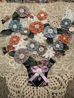 """Vintage Wall Hanging Banner Quilted MEMORY LACE  BUTTONS YO YO QUILT FLOWER 23"""""""