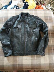 Mens Full Circle Black Leather Jacket Size Large 42 Chest