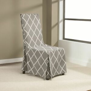Sure Fit Lattice Dining Room Chair Slipcover with Ties  GRAY NEW