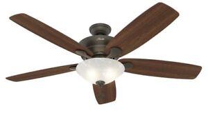 Hunter, Regalia II 60-in New Bronze LED Indoor Ceiling Fan w Marbleized Shade