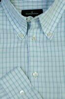 Ermenegildo Zegna Men's White Blue Gray Check Cotton Casual Shirt M Medium