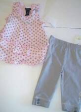 Calvin Klein 3-6 mesi 2 PZ Set a Pois Top Con Increspatura & Leggings Auth NUOVO