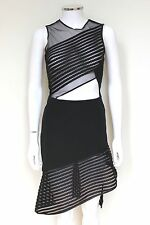 David Koma Sheer Panel Leather Trim Asymmetric Hem Dress UK8-6