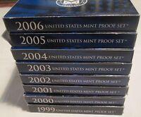 1999 2000 2001 2002 2003 2004 2005 2006 Proof Set 8 Set State Quarter Box & COA