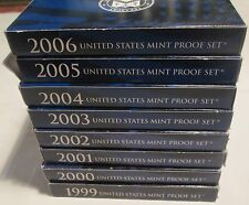 1999 to 2006 Proof Set 99 00 01 02 03 04 2005 2006 Proof set 8 sets Box & COA