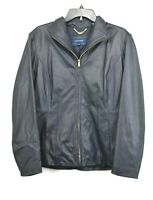 Cole Haan Womens Navy Lambskin Leather Jacket Front Zip Closure Pockets Lined XL