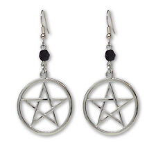 Mystical Pagan Pentacle Pentagram Silver Finish Pewter Dangle Earrings #809BD
