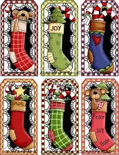 12 CHRISTMAS STOCKING BEAR TOYS HANG / GIFT TAGS FOR SCRAPBOOK PAGES (35)