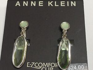 """Anne Klein Green Crystal EZ-Comfort Clip Silver Plated Earrings 1-3/8"""" New AN23"""
