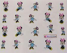 Nail Art Glitzy Pink Blue Minnie Spotty Bows Girl Nail Water Decal Sticker 2254