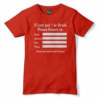 If Lost Or Drunk Return FUNNY MENS STAG HEN DO Tshirt Novelty Wife T Shirt 45
