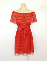 WITCHERY Off-Shoulder Dress Embroidered Lace Belted Red Orange EUC
