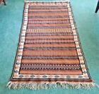 P E R S I A N ORIENTAL RUG, Embroidered Flat Weave, Wool, 3.5' by 6', Vintage
