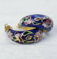 Vintage Enamel Cloisonne Dk Blue Cranberry Red Floral Hoop Earrings