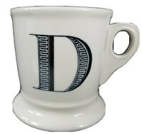 Anthropologie Coffee Mug Cup D Initial Monogram White Shaving Style Pedestal
