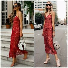 Self-Portrait Arabella Red Floral Lace Tiered Cocktail Dress Sz 8 $485 NWT