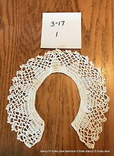 Elegant Vintage Hand Made White Hand Crocheted Collar No Button