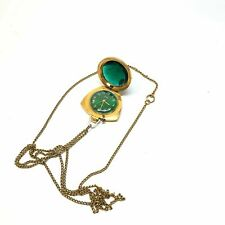Soviet Vintage ZARIA Watch Pendant Necklace Green Dial USSR Gold Plated Rare