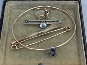 Mixture of 9 Carat Gold Victorian Jewellery Serpent Ring, Baculum Brooch Etc