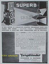 PUBLICITE VOIGTLANDER APPAREIL PHOTO SUPER B REFLEX SCHOBER & HAFNER DE 1933 AD