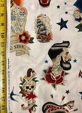 Anchors Away Tea - Alexander Henry Fabric Nautical Sailor Tattoo