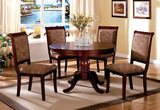 Table Dining Set 5 Pcs Cherry Wood Finish
