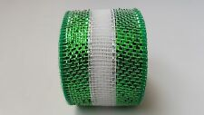 "2.5"" Green and White Striped Deco Mesh Ribbon"