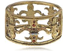 Vintage Inspired Topaz Crystal Rhinestone Fleur De Lis Cuff Bracelet Bangle Cuff