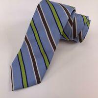 "Peter Millar Mens Necktie Blue Stripe Tied Hand Folded Woven Silk 3 1/8"" x 59"""