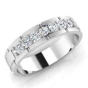 0.36 Ct Natural Diamond Mens Band Engagement Ring 14K Solid White Gold Size 9 12