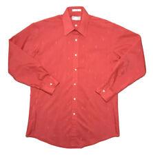 VTG Yves Saint Laurent Men's Button Up Dress Shirt Sz 15 1/2 Red All Over Logo