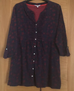 Navy Blue w Red Mix Cotton Blouse/Top/Tunic by Per Una Size 18measurements below