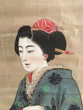 Peinture Rouleau Japonais XIX Ancien Japanese  Geisha