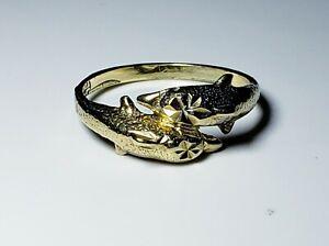 Lovely 10K Solid Yellow Gold Diamond Cut Dolphin Ring Size 6/ Anillo de Oro