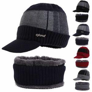 Winter Mens Warm Hat Knit Visor Beanie Fleece Lined Billed Beanie with Brim Cap