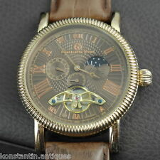 Open heart automatic wrist watch gilt Constantin Weisz day night original gift